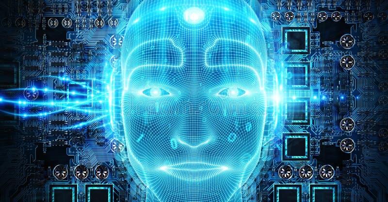 Robotic man cyborg face representing artificial intelligence 3D rendering. Robotic man cyborg face representing artificial intelligence concept 3D rendering stock illustration