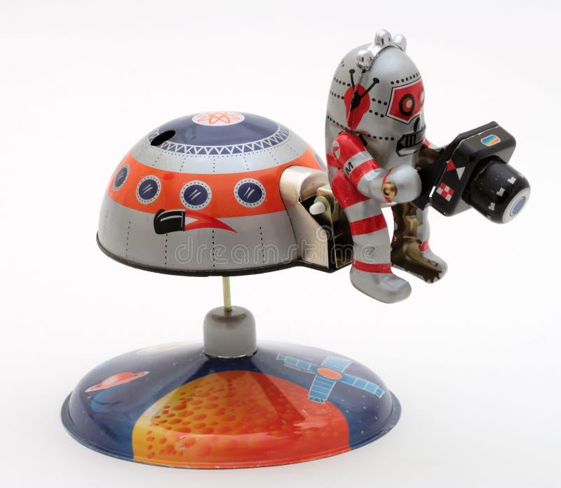 """Robotic man för Tin-Toy Series †""""med kameran royaltyfri foto"""