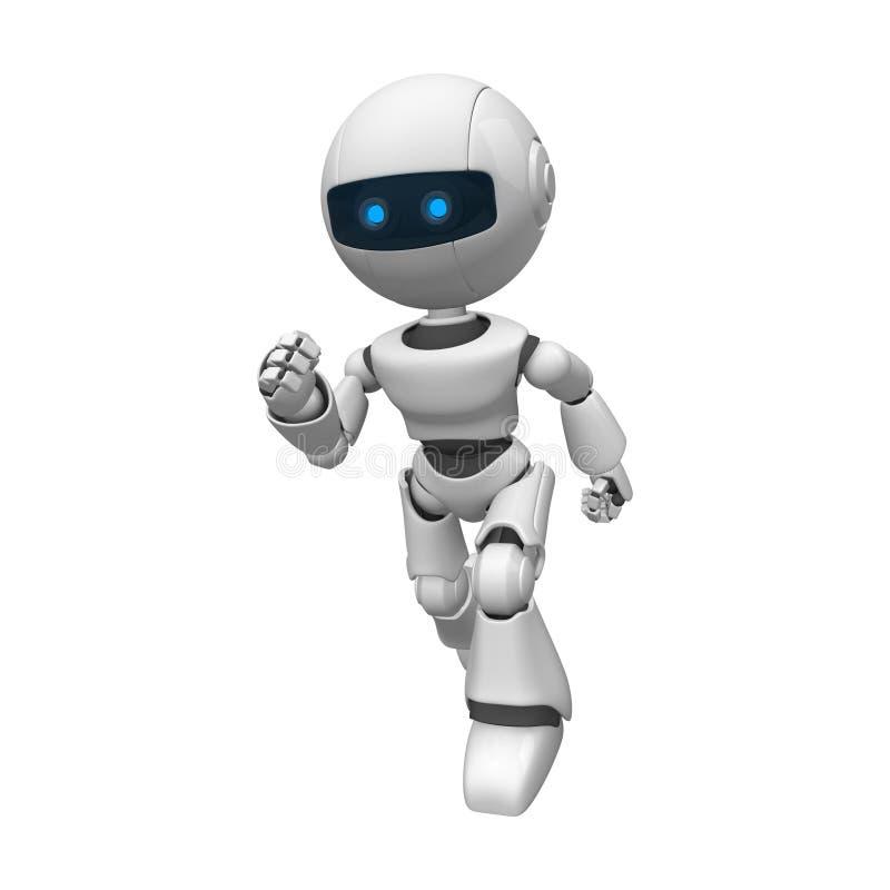 Robotic man running. 3d rendering of a white robotic man running royalty free illustration