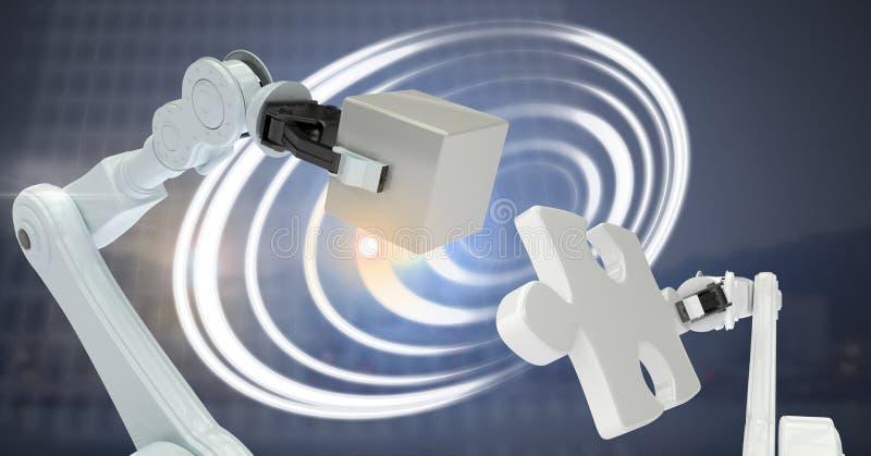 Robotic maskiner och glödande cirkelteknologimanöverenhet vektor illustrationer
