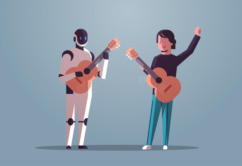 Robotic musician with man guitarist playing acoustic guitar robot vs human standing together artificial intelligence. Technology concept flat full length vector illustration