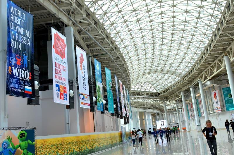 Robotic olympiad Ryssland 2014 för värld i Sochi arkivfoton