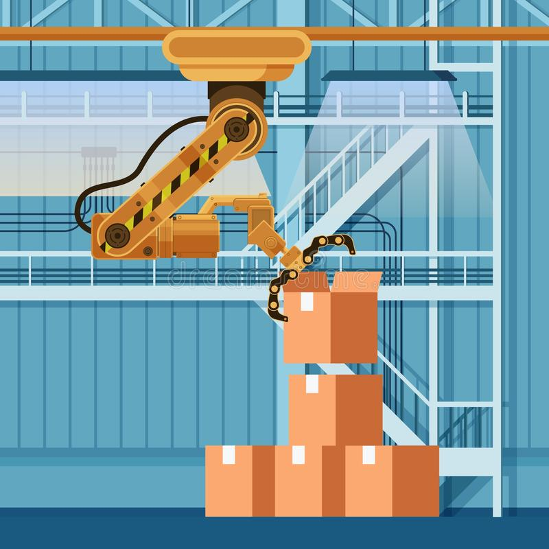 Robotic Packing Claw Lifting Open Cardboard Box stock illustration