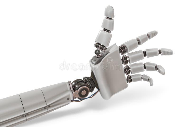 Robotic plastic hand on white background. 3D rendered illustration.  royalty free illustration