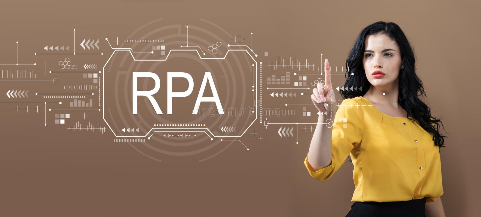 Robotic process automation concept with business woman royalty free stock images