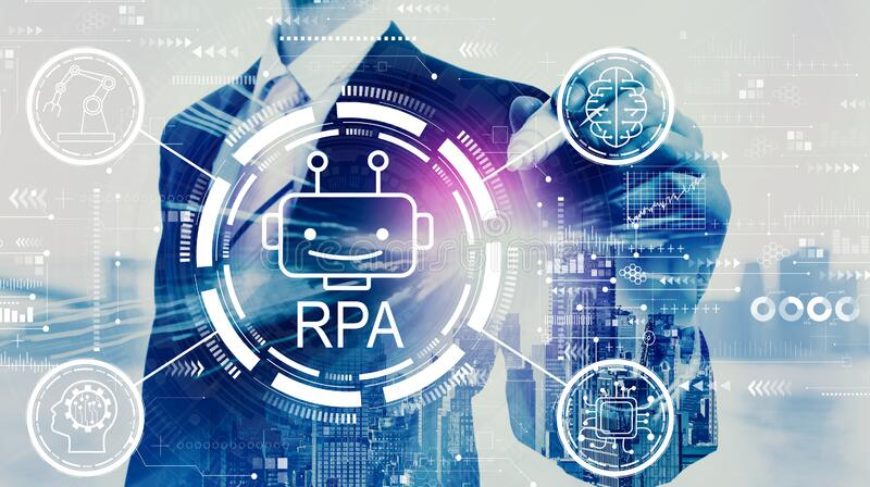 Robotic process automation concept with businessman. On a city background royalty free stock photography