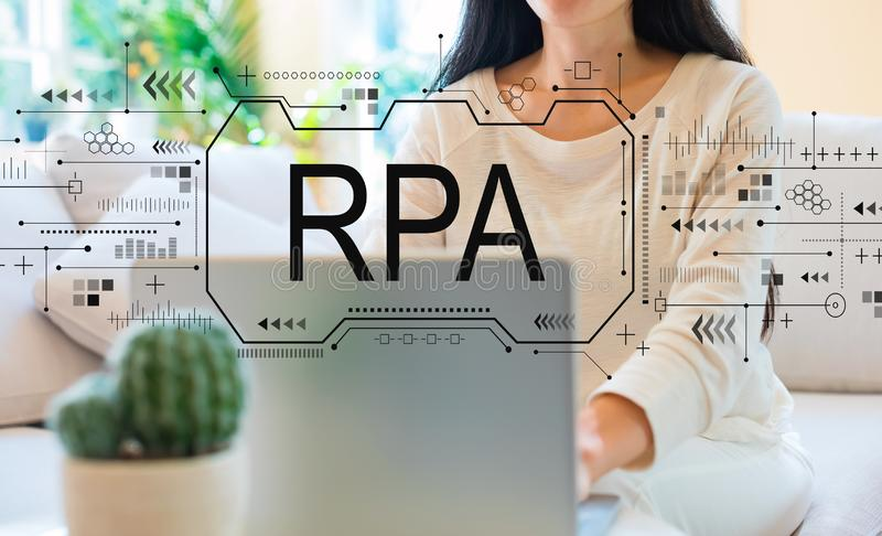 Robotic process automation concept with woman using her laptop royalty free stock photography
