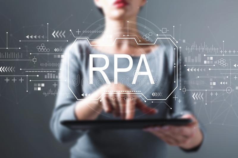 Robotic process automation concept with woman using a tablet royalty free stock image