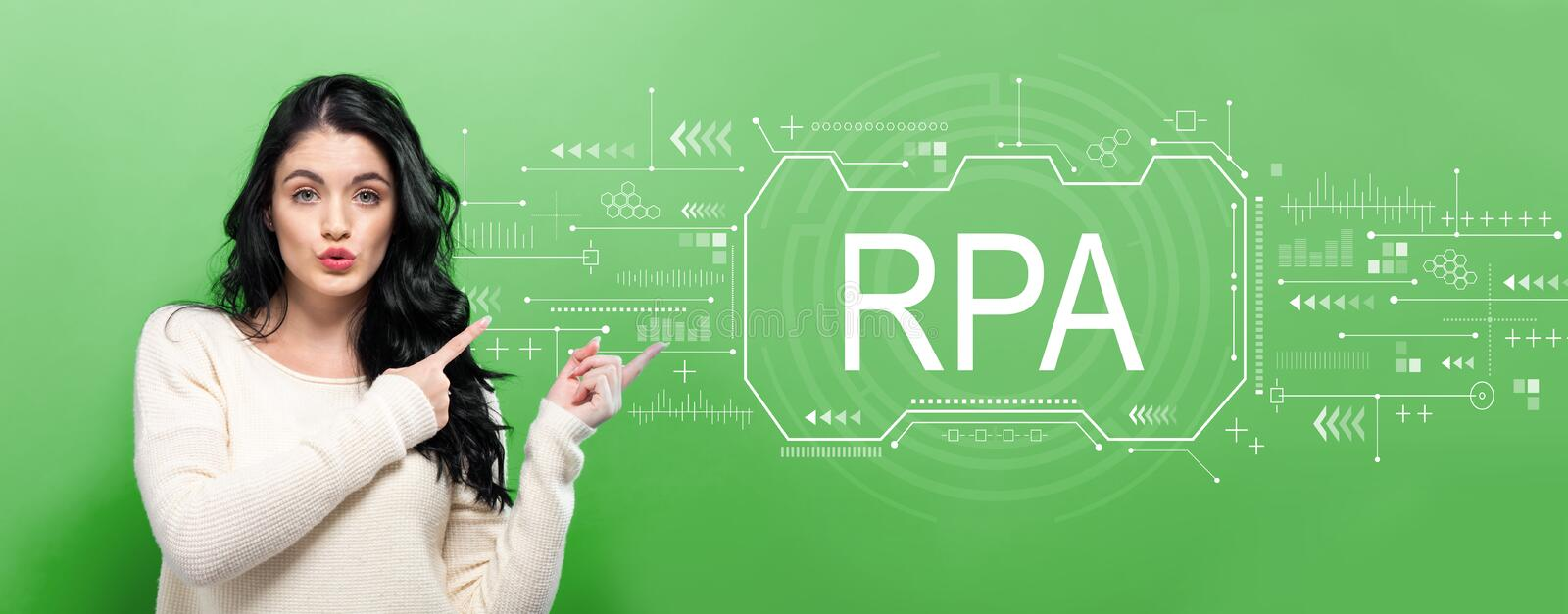 Robotic process automation concept with young woman royalty free stock image