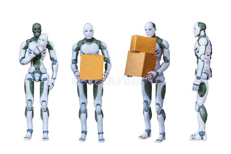 Robotic Process Automation Intelligent robot technology. On a white background royalty free illustration