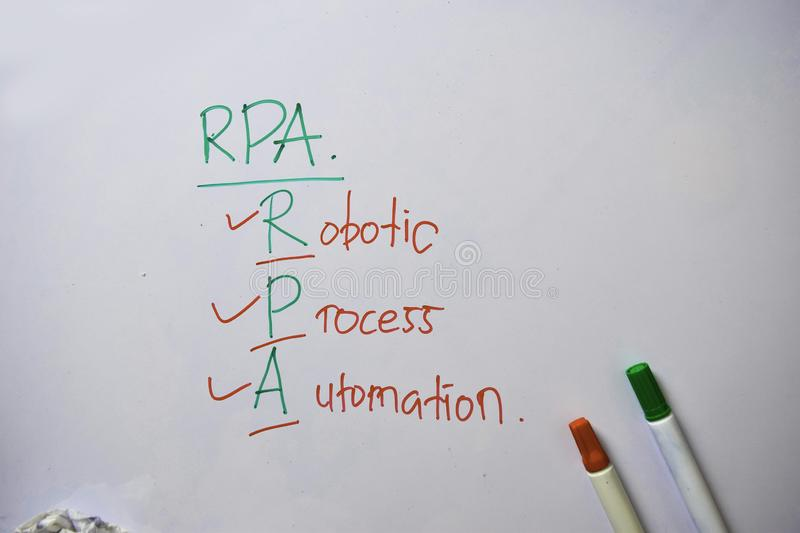 Robotic Process Automation text with isolated on white board background stock images