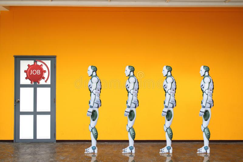 Robotic Process Automation work door for a job technology. RPA royalty free stock images