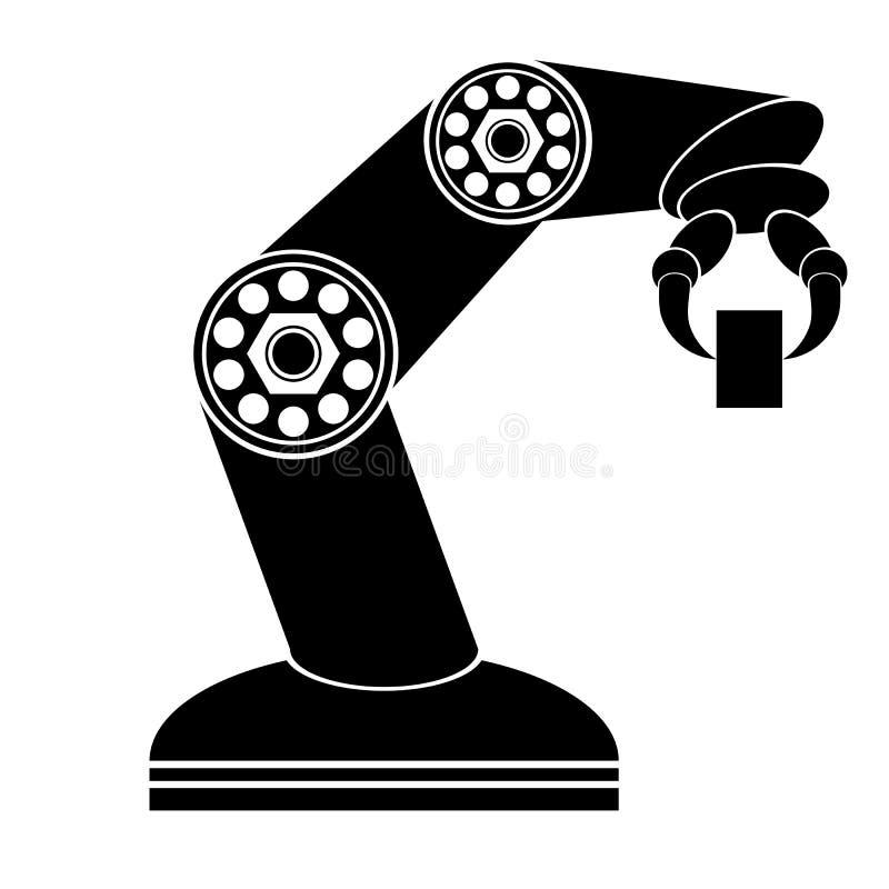 Robotic produktionslinje Industriell mekanisk robotarm stock illustrationer