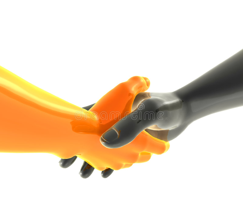 robotic shakehand för arm royaltyfri illustrationer