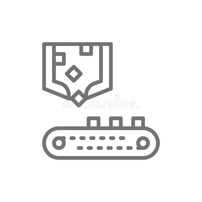 Robotic sorting arm with conveyor belt, metallurgy production line icon. stock illustration