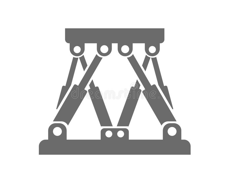 Robotic Stewart Platform Logo. Stewart platform logo. Closed kinematic chain driven by hydraulic cylinders. Typically used in offshore and marine industry in lab vector illustration