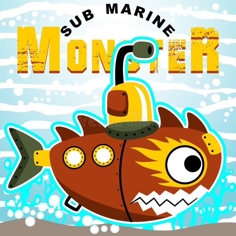 Robotic submarine vector illustration