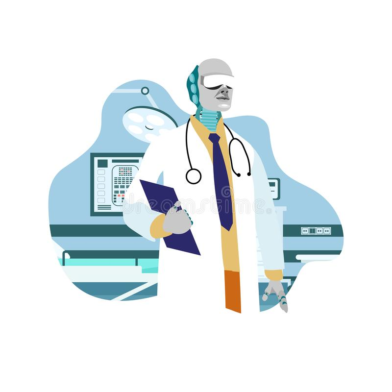 Robotic Surgeon, Doctor Flat Vector Illustration vector illustration