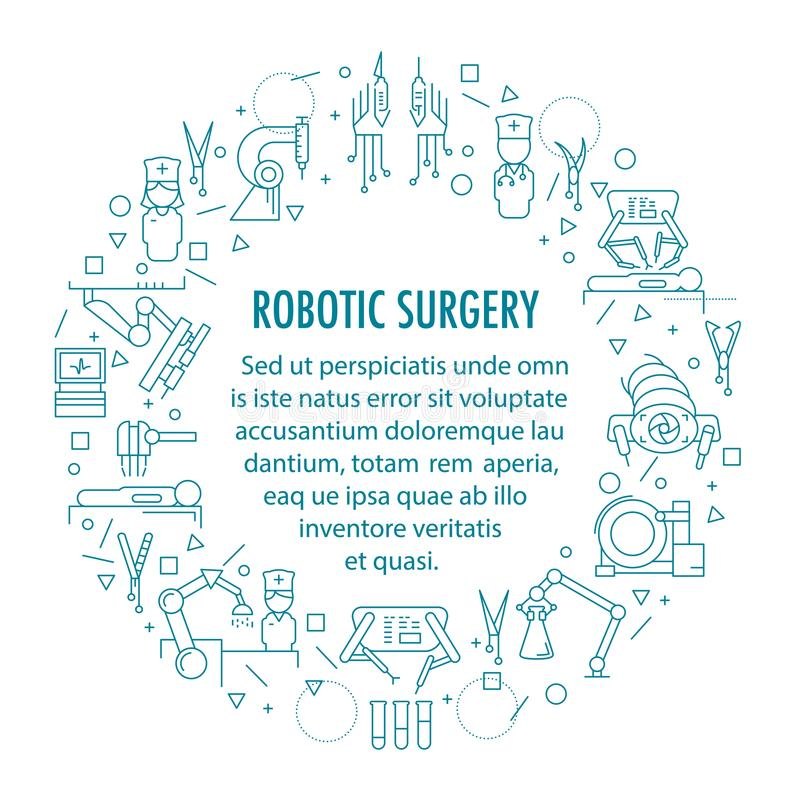 Robotic surgery banner. In linear style. Robotic assisted surgery future linear template design. Vector illustration vector illustration