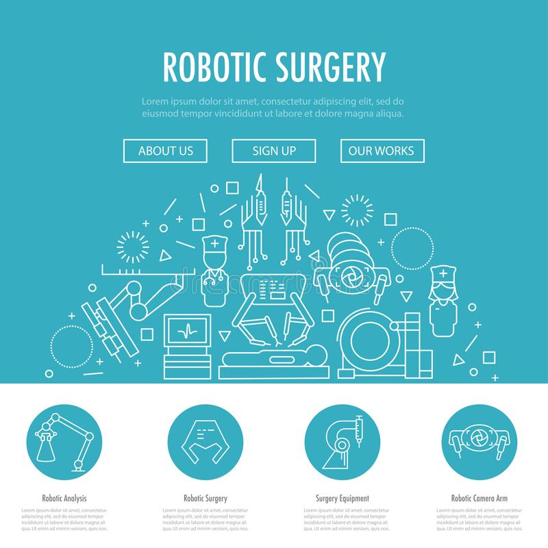 Robotic surgery banner. Robotic surgery landing page template in linear style. Robotic assisted surgery future linear template design on blue. Vector stock illustration