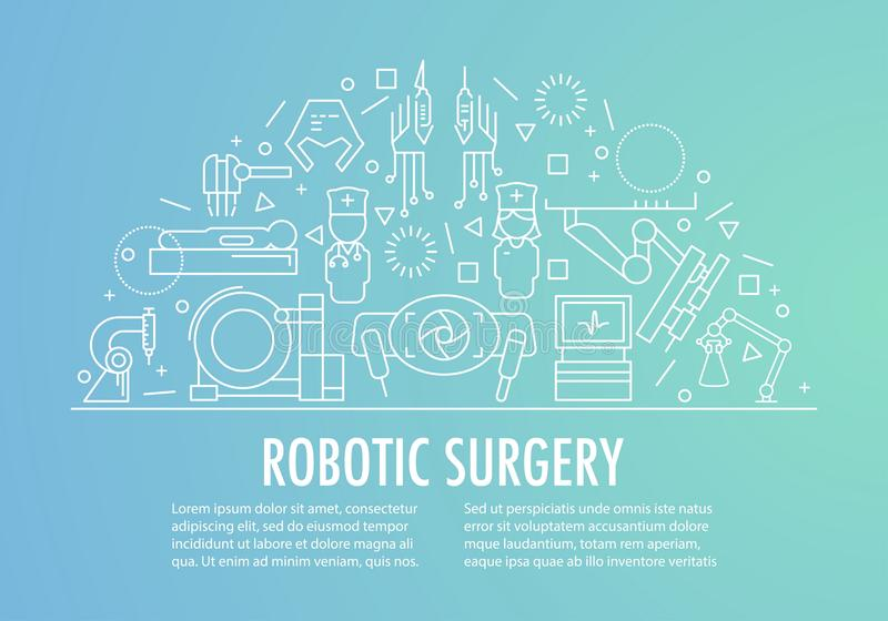 Robotic surgery banner. Template in linear style on gradient background. Robotic assisted surgery future linear template design. Vector illustration stock illustration