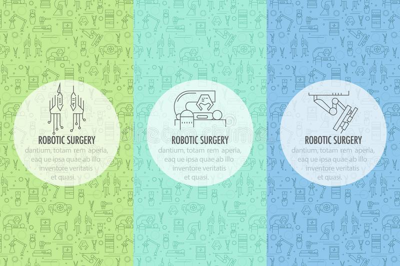 Robotic surgery banner. Three robotic surgery banner template in linear style on colored seamless pattern background. Robotic assisted surgery future linear royalty free illustration