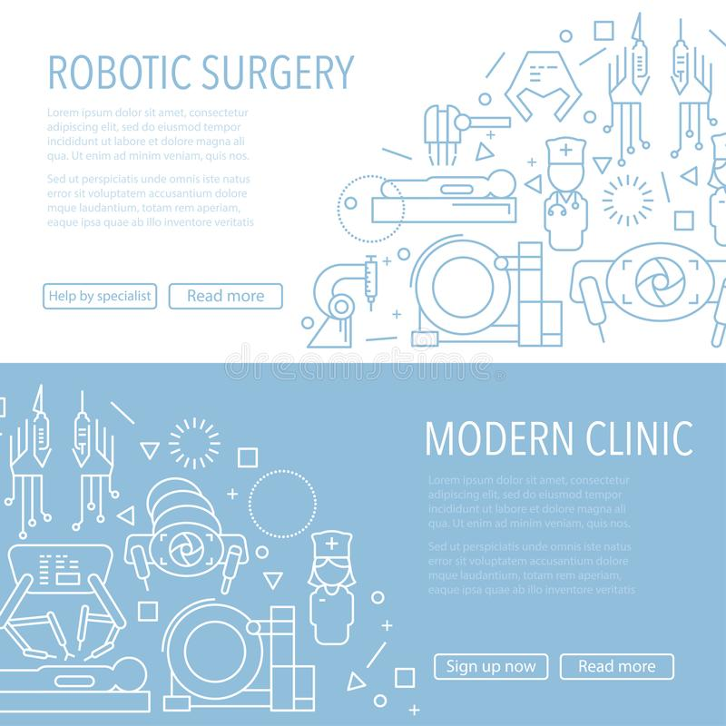 Robotic surgery banner. Two robotic surgery banner template in linear style on white and blue background. Robotic assisted surgery future linear template design royalty free illustration