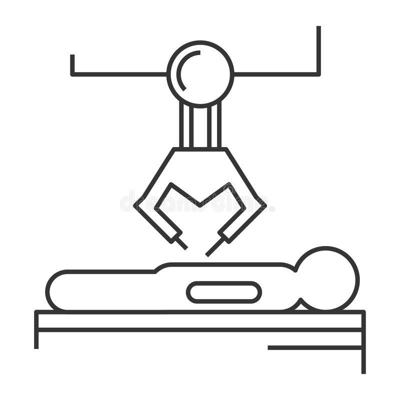 Robotic surgery icon. Robotic surgery line icon. Robotic assisted surgery future linear design element. Vector illustration royalty free illustration