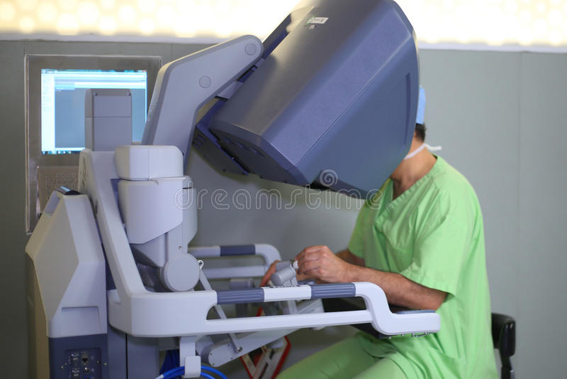 Robotic Surgery. Medical robot. Medical operation involving robot royalty free stock image