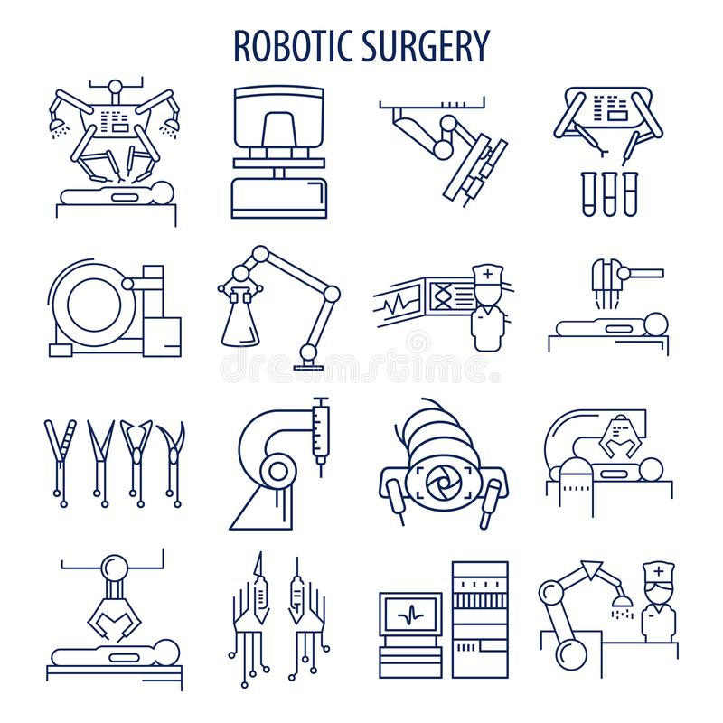 Robotic surgery set. Robotic surgery line icons set. Robotic assisted surgery future linear design elements collection. Vector illustration royalty free illustration