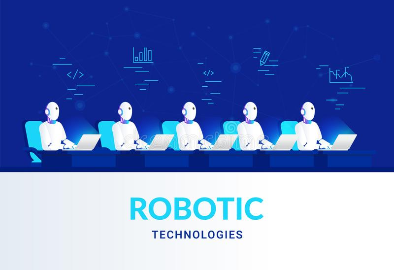 Robotic technologies for online assistance and machine learning. royalty free illustration