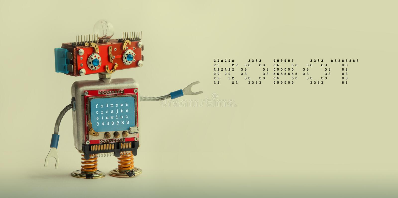 Robotic technology concept. IT specialist cyborg toy, smiley red head blue monitor body. Robot digital message on beige stock images