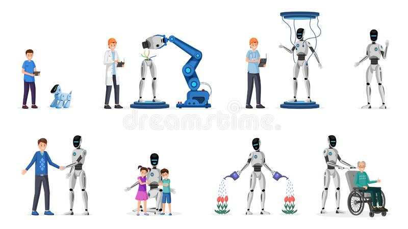 Robotic technology flat vector illustrations set. Cyborgs, adults and children characters. Futuristic technology in. Robotic technology flat vector illustrations royalty free illustration