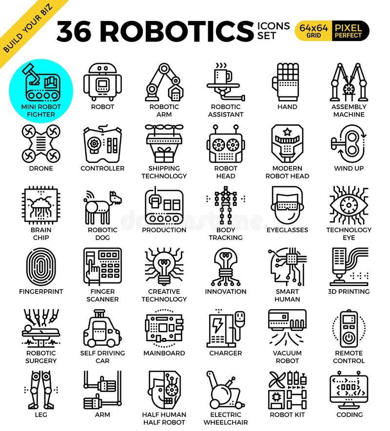 Robotic teknologiöversiktssymboler royaltyfri illustrationer