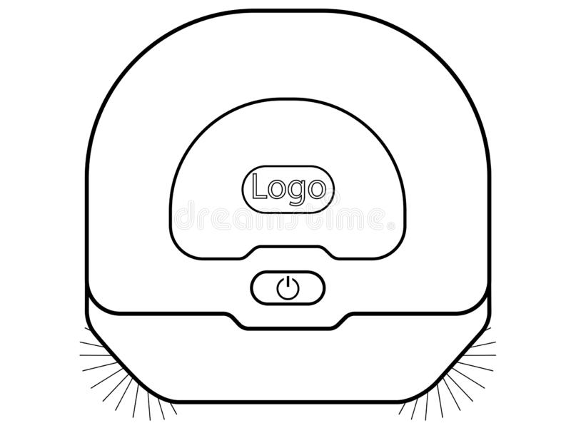 Robotic vacuum cleaner. Top view linear picture Hoover. Robot vacuum cleaner with rotating brushes. Vacuum cleaner for wet cleaning. Smart House. Robovac vector illustration