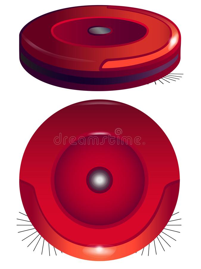 Robotic vacuum cleaner in two angles. Hoover Robot. Robot vacuum cleaner. View from above. Line drawing.Round robot vacuum cleaner with side brushes. Robotic stock illustration