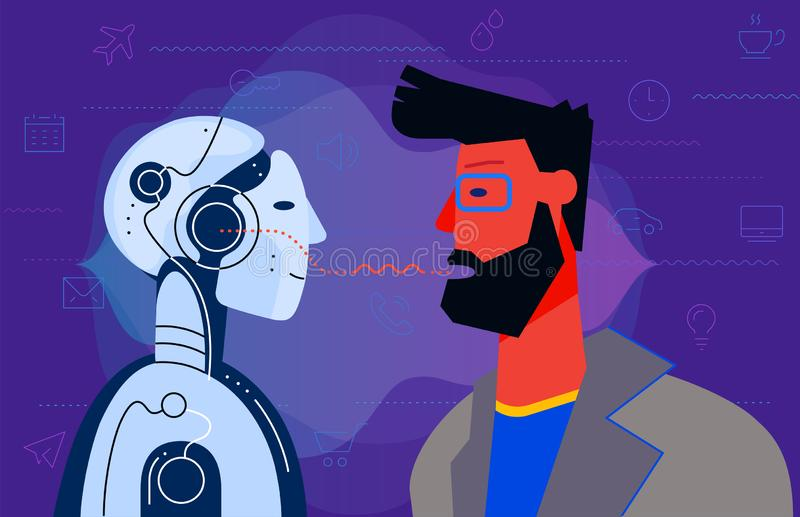 Robotic voice assistant Concept Banner. Trendy Character Design Illustration royalty free illustration
