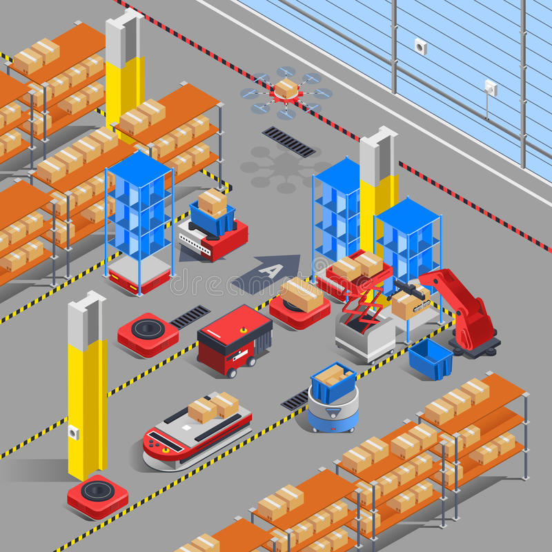 Robotic Warehouse Isometric Background vector illustration