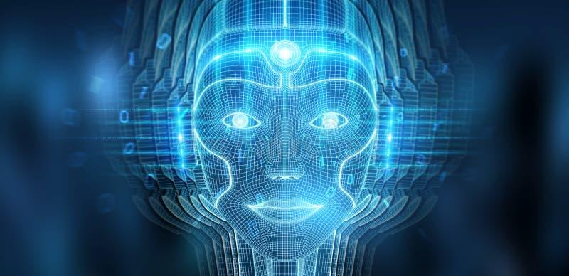 Robotic woman cyborg face representing artificial intelligence 3D rendering. Robotic woman cyborg face representing artificial intelligence concept 3D rendering stock illustration