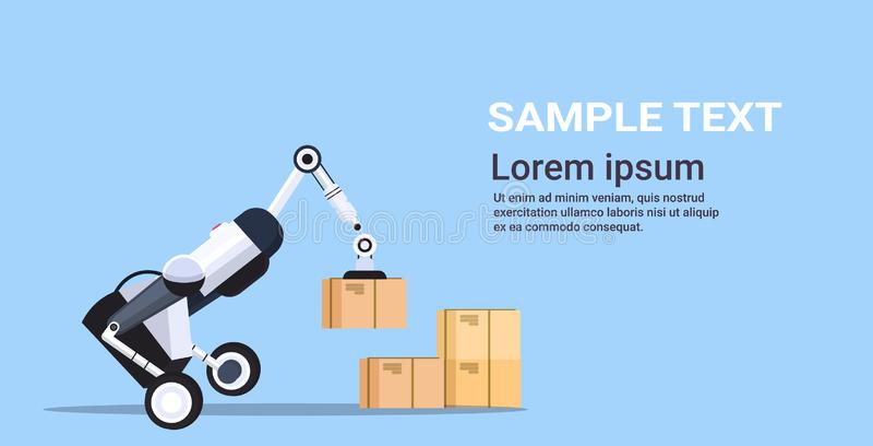 Robotic worker loading cardboard boxes hi-tech smart factory robot artificial intelligence logistics automation. Technology concept copy space flat horizontal vector illustration