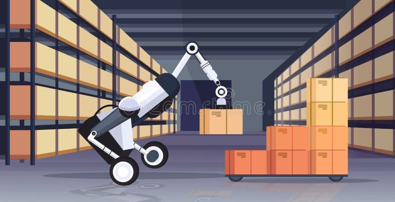 Robotic worker loading cardboard boxes hi-tech smart factory robot artificial intelligence logistics automation. Technology concept modern warehouse interior vector illustration