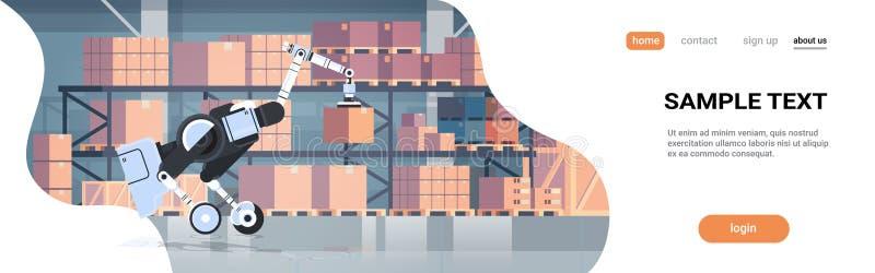 Robotic worker loading cardboard boxes hi-tech smart factory warehouse interior logistics automation technology concept. Modern robot cartoon character flat vector illustration