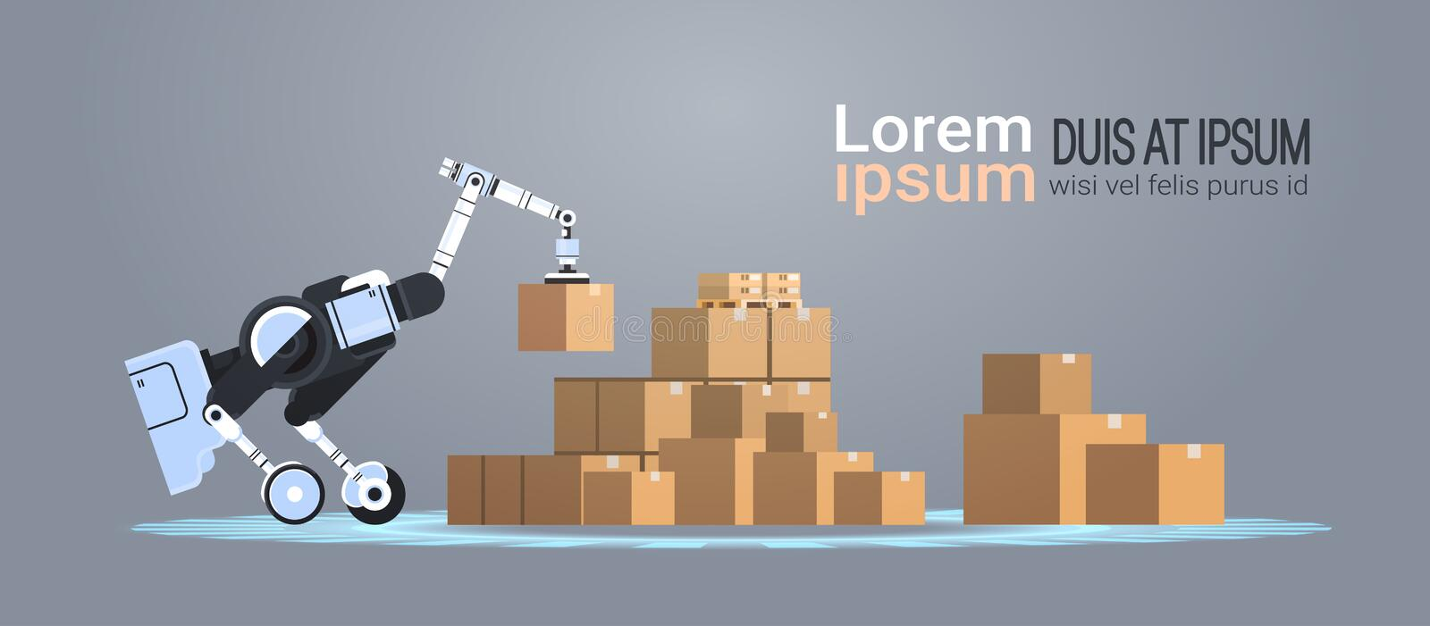 Robotic worker loading cardboard boxes hi-tech smart factory warehouse logistics automation technology concept modern. Robot cartoon character flat copy space royalty free illustration