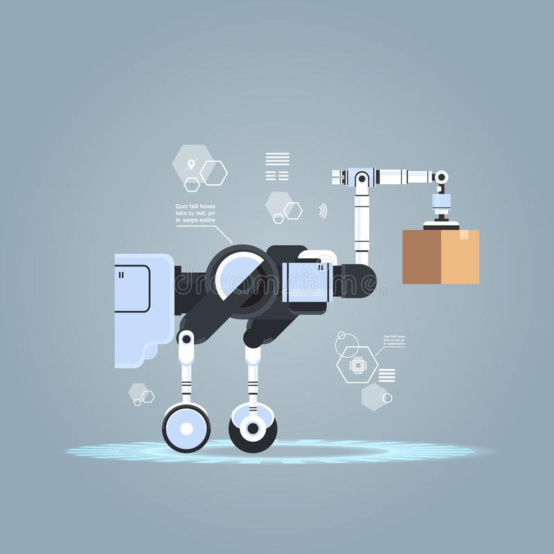 Robotic worker loading cardboard boxes hi-tech smart factory warehouse logistics automation technology concept modern. Robot cartoon character flat vector stock illustration