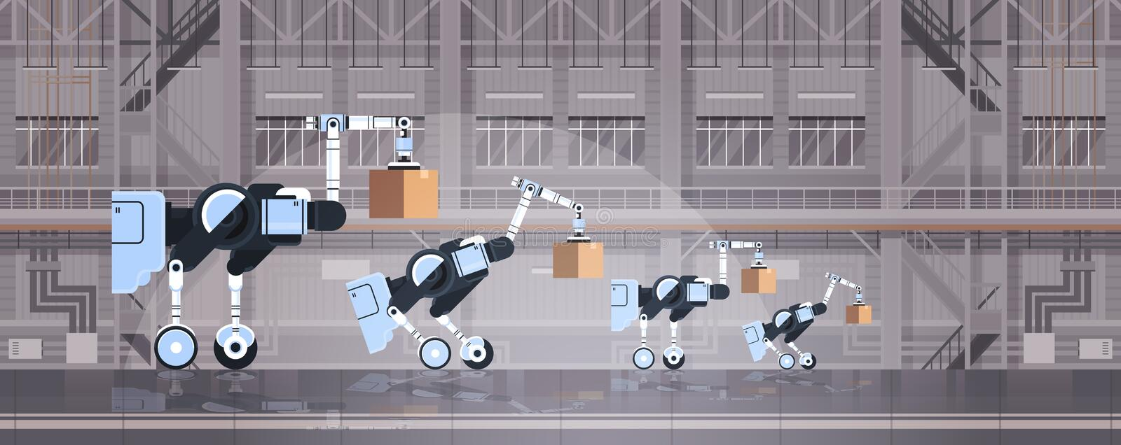 Robotic workers loading cardboard boxes hi-tech smart factory warehouse interior logistics automation technology concept. Modern robots cartoon characters flat vector illustration