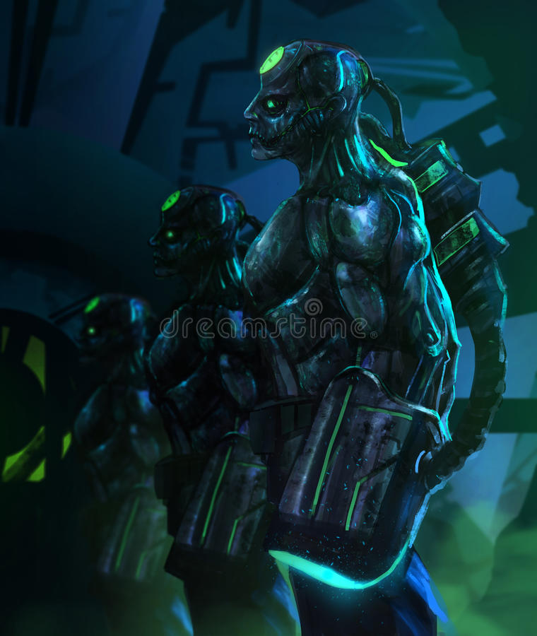 Robotic zombies standing with weapons. royalty free illustration