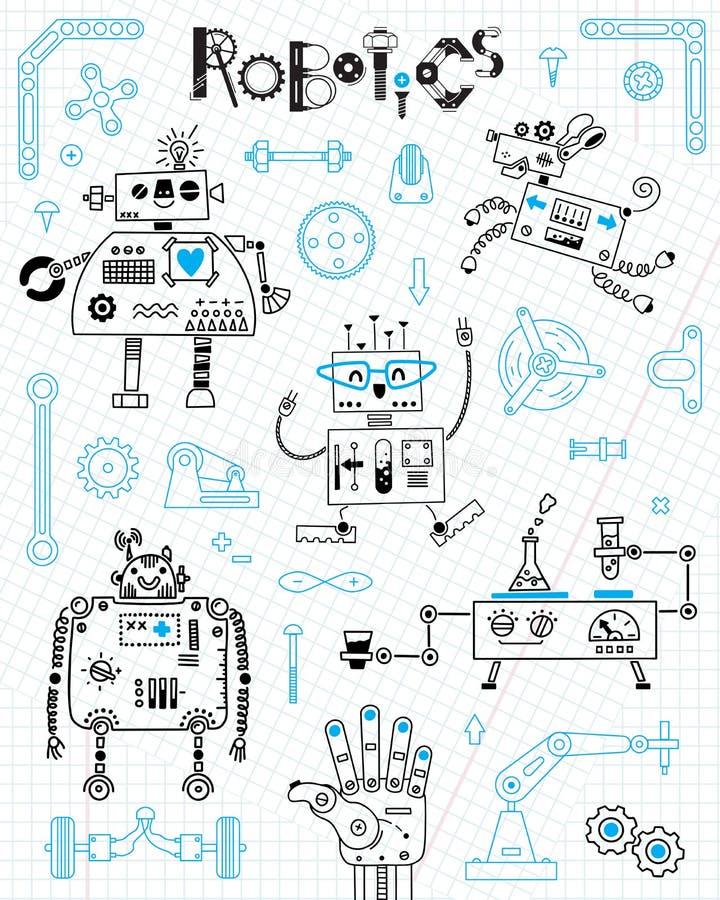 Robotica voor jonge geitjes Reeks ontwerpelementen Robots en details voor bouw Vector illustratie stock illustratie