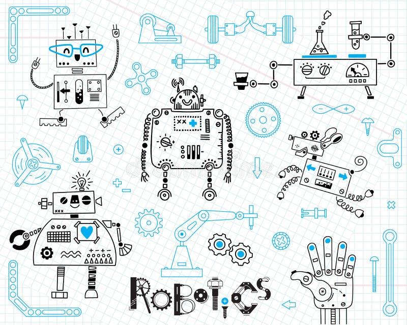 Robotica voor jonge geitjes Reeks ontwerpelementen Robots en details voor bouw Vector illustratie royalty-vrije illustratie