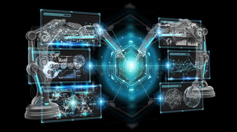Robotics arms with digital screen 3D rendering stock illustration