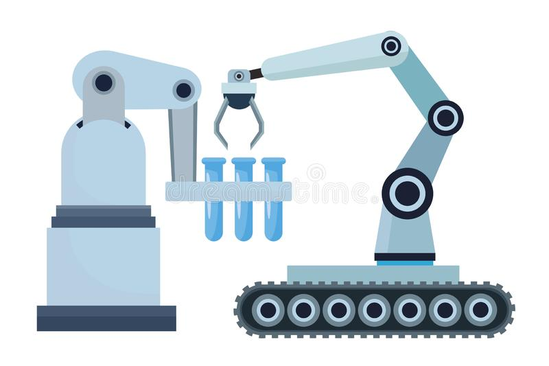 Robotics arms mobil with test tubes vector illustration